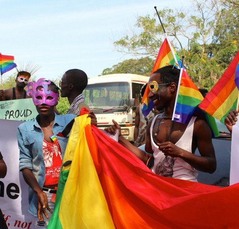 Participants at a gay pride celebration in Uganda. Credit: Amy Fallon/IPS
