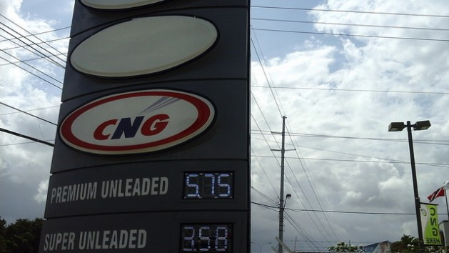 CNG fuel signs at the NP Ramco service station, on the Churchill-Roosevelt Highway, Orange Grove, Trinidad. Credit: Jewel Fraser/IPS