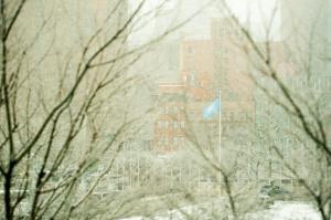 Snow falls outside of the UN headquarters Secretariat building in New York. Credit: UN Photo/Rick Bajornas