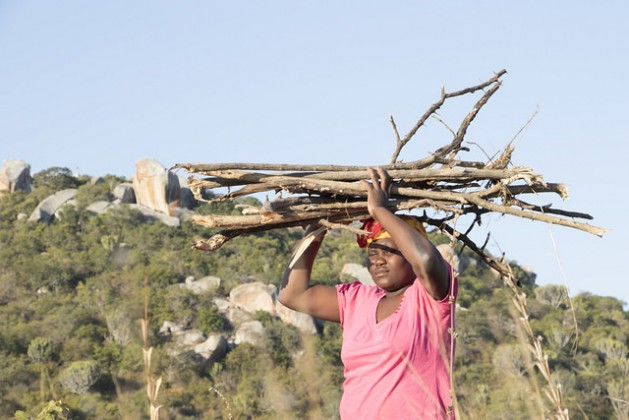 Constance Huku, 29, of the rural town of Masvingo in southeastern Zimbabwe, carries a pile of wood on her head. Credit: Sally Nyakanyanga/IPS