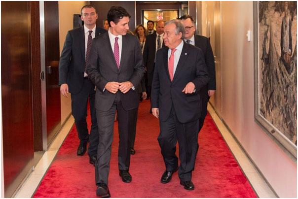Inner sanctum: António Guterres and Justin Trudeau, Canada's prime minister, on April 6 in the UN's secretariat, New York. MARK GARTEN/UN PHOTO