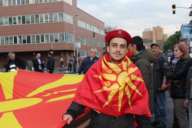 Thousands of people gather daily in the center of Skopje, Macedonia to express their support for the president. Credit: Aleksandra Jolkina/IPS