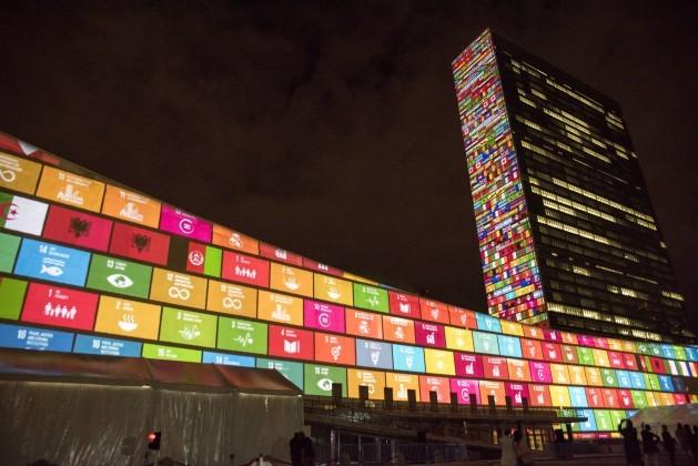 The UN's 17 Sustainable Development Goals are projected onto UN headquarters. UN Photo/Cia Pak