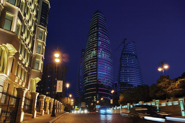 Night time view of Baku, Azerbaijan. Credit: Ministry of Tourism and Culture, Azerbaijan