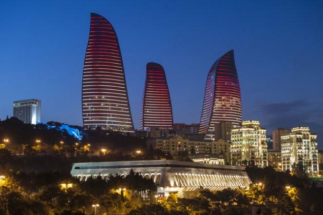 Night-time view of Baku, Azerbaijan. Credit: Ministry of Tourism and Culture, Azerbaijan