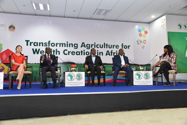 A panel discussion on Africa-Asia partnerships featuring AFDB Group President Akinwumi Adesina, Benin President Patrice Talon, Vice President of Cote d'Ivoire Daniel Kablan Duncan and Hellen Hai of Made in Africa Initiative. Credit: Friday Phiri/IPS