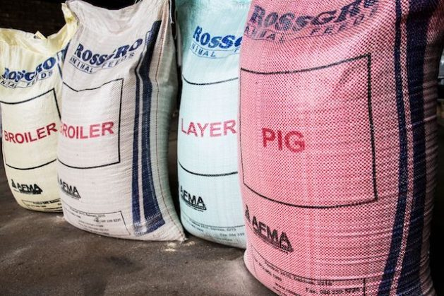 Bags of feed at the Rossgro agribusiness firm in South Africa. Credit: Friday Phiri/IPS