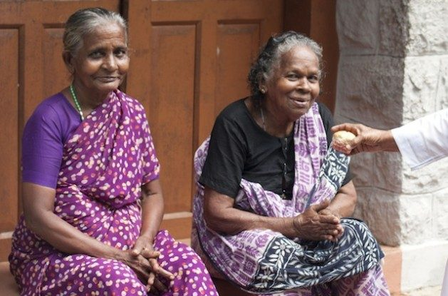 Population Aging: women sitting in front of an old age home in Kanyakumari district in Tamil Nadu, India. Credit: K. S. Harikrishnan/IPS