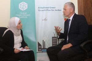 Safa Khasawneh interviews the Director-General of the Global Green Growth Institute (GGGI) Dr.FrankRijsberman. Credit: Safa Khasawneh/IPS