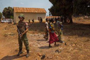 A UN peacekeeper on patrol in Bria, Central African Republic. Credit: UN Photo/Nektarios Markogiannis