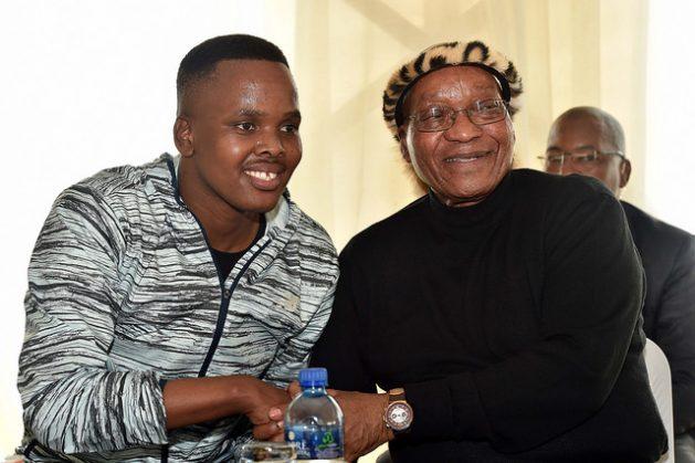 South African President Jacob Zuma with Maskandi artist Khuzani during the 6th Annual Matomela celebrations, 8 Oct 2016. Credit: GCIS/cc by 2.0