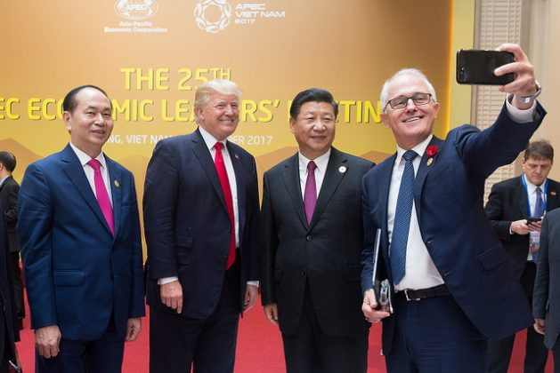 U.S. President Donald Trump with Chinese President Xi Jinping during Trump's visit to Asia. As the US pulls out of the Paris Climate Agreement, China has shown huge growth in clean energy and its emissions appear to have peaked more than a decade ahead of its Paris Agreement NDC commitment. Credit: Public Domain