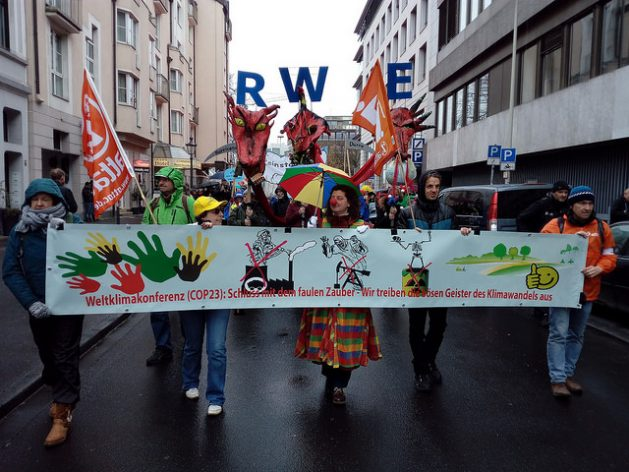In the Nov. 11 Climate March through the main streets of the German city of Bonn, protesters called for an end to the use of coal as a power source, especially by German companies, such as RWE. Credit: Emilio Godoy / IPS