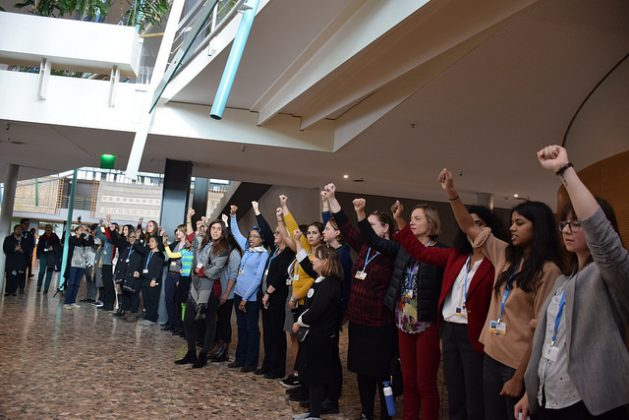 Representatives of over a dozen women's organizations from Latin America, Africa, the MENA region and Asia stage a protest at the COP23 talks in Bonn. Credit: Stella Paul/IPS