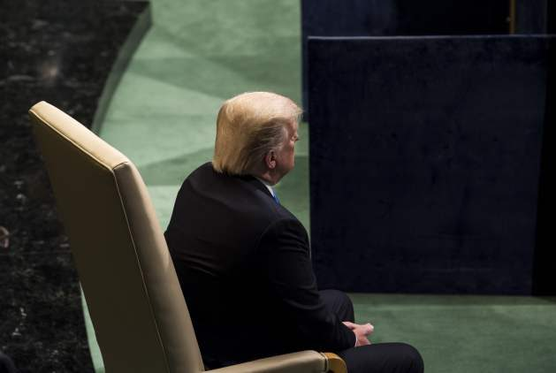 President Donald Trump prepares to address the general debate of the Assembly's seventy-second session. Credit: UN Photo/Kim Haughton