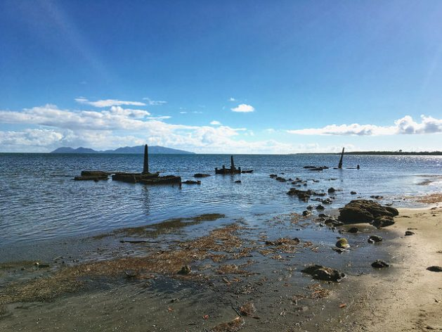 A semi-submerged graveyard on Togoru, Fiji. The island states in the South Pacific are most vulnerable to sea level rise and extreme weather. Credit: Pascal Laureyn/IPS
