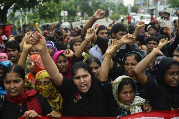 Workers protest for higher wages. Photo Courtesy of the Bangladesh Apparels Workers Federation