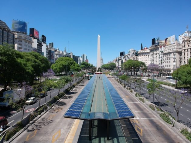 Solar panels installed on covered bus stops of the public transport system in the city of Buenos Aires, on the 9 de Julio Avenue, with the emblematic obelisk in the background. Clean and unconventional energies comprise a negligible share of Argentina's energy mix, but different government initiatives seek to change this. Credit: Courtesy of Sustentator