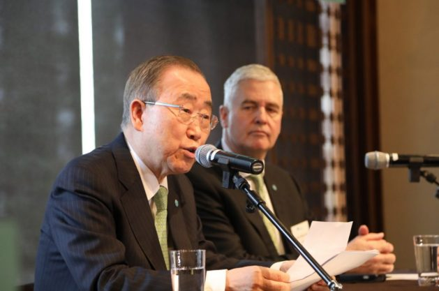Ban Ki-moon, the new president and chair of GGGI, with Dr. Frank Rijsberman, the group's director general. Credit: GGGI