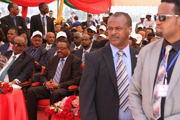 Prime Minister Hailemariam Desalegn (sitting with hands clasped in lap) attending the 2016 opening of the new Addis Ababa-Djibouti railway. Credit: James Jeffrey/IPS