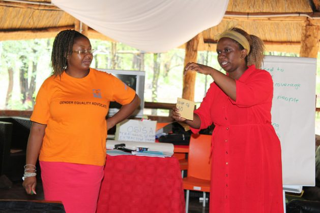 Dorcas Makaza-Kanyimo (left), acting director of Women and Law in Southern Africa, participates in a workshop on women in the extractives industry in Hwange, Zimbabwe. Credit: Sally Nyakanyanga/IPS