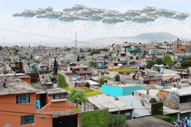 Photomontage by the organisation Isla Urbana, a pioneer in the promotion of rainwater harvesting as part of a new model in the management of water supply and consumption in Mexico, where the benefits of the system to get access to water are recreated in informal settlements in the west of the capital. Credit: Isla Urbana