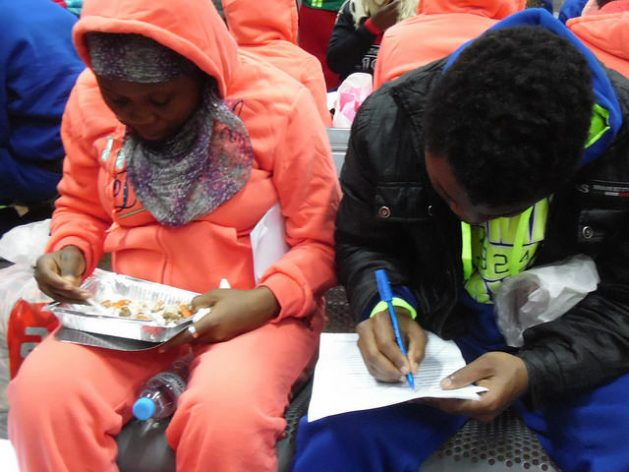 The drama of irregular migration: the IOM is helping Cameroonians who had attempted to relocate in Europe to reintegrate back into Cameroon - Returned migrants have something to eat and fill out papers for IOM at Yaounde Nsimalen Airport in Cameroon. Credit: Mbom Sixtus/IPS