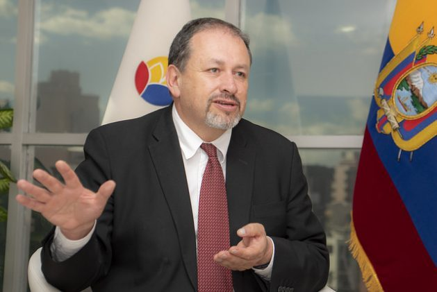Ecuadorian Environment Minister Tarsicio Granizo speaks during an interview with IPS in his office in Quito. Credit: Nina Zambrano/IPS