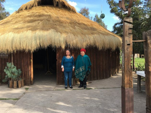 Juana Cheuquepan (L) and her mother, machi (shaman) María Colipe, at the door of the Kiñe Pu Liwen Association's ruca in the municipality of La Pintana, on the southern outskirts of Santiago, where Mapuches living in the metropolitan area of the Chilean capital hold ceremonies and meetings. Credit: Orlando Milesi/IPS