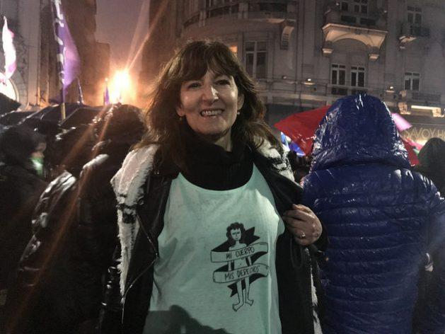 """A demonstrator in Buenos Aires wears a T-shirt with the slogan """"my body, my rights,"""" one of the slogans of the so-called green tide - the colour adopted by the movement for the legalisation of abortion, which is beginning to spread to other Latin American countries. Credit: Fabiana Frayssinet/IPS"""