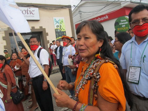 """Teresita Antazú, a """"cornesha"""" or leader of the Yanesha people, one of the 55 indigenous peoples officially recognised in Peru, who from a young age fought against the patriarchal power and the inequalities faced by indigenous women, takes part in a demonstration in defence of native peoples of the Amazon rainforest. Credit: Mariela Jara/IPS"""