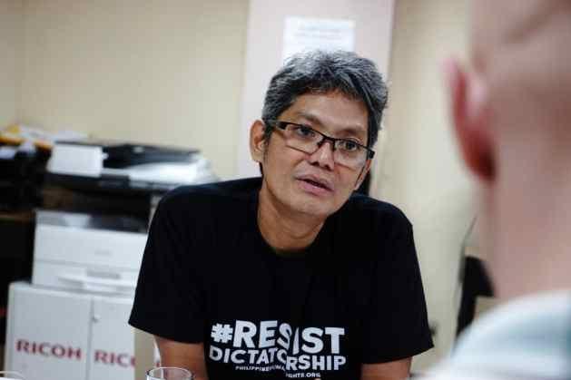"Josua Mata T-shirt reads ""Resist Dictatorship"", a message aimed at President Duterte's reign Credit: Carlo Falk"