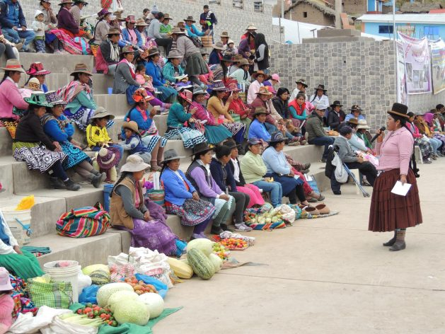 Yolanda Flores, an Aymara indigenous woman, speaks to other women engaged in small-scale agriculture, gathered in her village square in the highlands of Peru's southern Andes. She is convinced that participating in local decision-making spaces is fundamental for rural women to stop being invisible and to gain recognition of their rights. Credit: Courtesy of Yolanda Flores