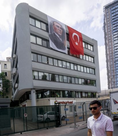 Cumhuriyet's headquarters dressed up for Victory Day, which commemorates Turkish victory against Greek forces at the Battle of Dumlupınar (August 26-30, 1922).