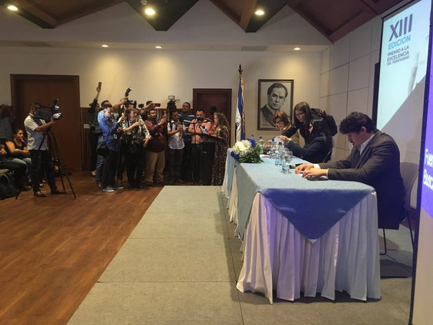 Presentation of the Pedro Joaquín Chamorro Prize for Excellence in Journalism by the Violeta Barrios de Chamorro Foundation on Jan. 9 in Managua, where a report was also launched on the harsh repression of journalism in 2018. Pedro Joaquín Chamorro (1924-1978) gave birth to a journalistic dynasty in Nicaragua. Credit: José Adán Silva/IPS