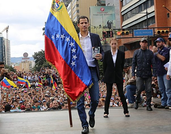 Congressman Juan Guaidó of the Popular Will party, president of the National Assembly since Jan. 5, was sworn in on Jan. 23 before a crowd as Venezuela's interim president. Credit: NationalAssembly