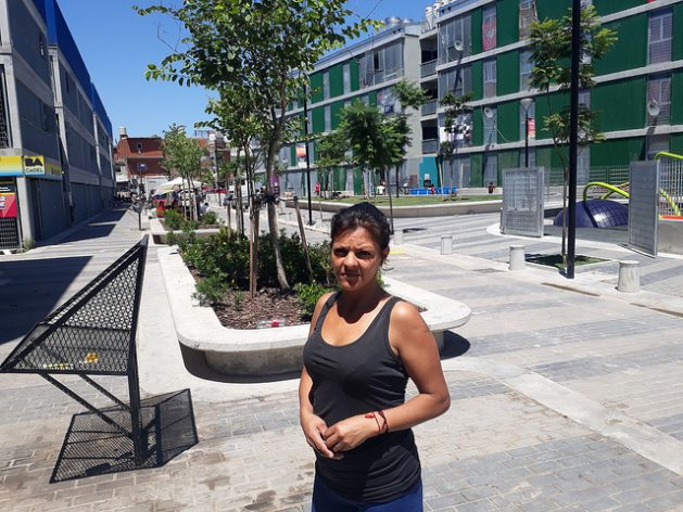 Valeria Barrientos stands in the recreational area of La Containera, the modern complex of 120 social dwellings that was inaugurated in 2017 inside Villa 31, a shantytown embedded in a central area of Buenos Aires. The rooftops of the buildings are covered by solar panels, which guarantee electricity for the residents. Credit: Daniel Gutman/IPS