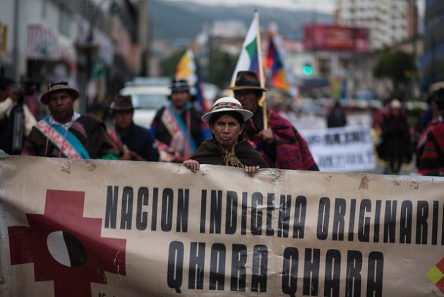 After a nearly 700-km march that took 41 days, members of the Qhara Qhara nation reach the city of La Paz on Mar. 18 to demand legal changes that would guarantee the land rights of the country's 36 native peoples. Credit: Gastón Brito/IPS