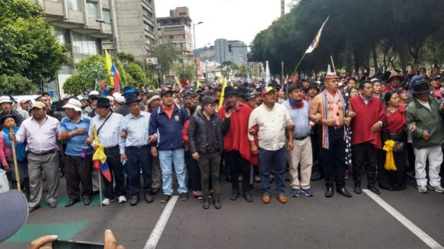 In Ecuador, indigenous-led protests compelled the government to reconsider an austerity package agreed with the International Monetary Fund (IMF) that included public sector wage cuts and fuel price hikes. Credit: Conaie.
