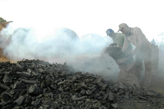 Workers produce charcoal in Andrequice, a town in the state of Minas Gerais in southeastern Brazil. The activity employs large numbers of workers who are subjected to modern slavery, in addition to damaging the environment by deforesting large areas. It was a frequent target of inspections carried out by the Mobile Inspection Team for Combating Slave Labour, especially during the first decade of this century. Credit: Courtesy of João Zinclar/CPT