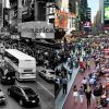 A recreation of how New York's Times Square could be transformed as part of the ideas of reversible urbanism which experts are calling for in the wake of the pandemic. CREDIT: PaisajeTransversal.org