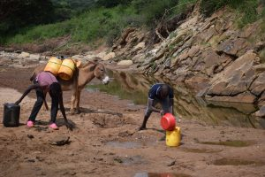 11-year-old Fatoumata Binta (left) and her brother Iphrahima Tall (right) collect water from a dry river bed. This summer, the family has struggled to get enough water. Credit: Stella Paul/IPS