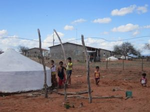 A rural settlement in the state of Pernambuco, in Brazil's semiarid ecoregion. Tanks that collect rainwater from rooftops for drinking water and household usage have changed life in this parched land, where 1.1 million 16,000-litre tanks have been installed so far. CREDIT: Mario Osava/IPS