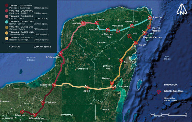 A map of the Mayan Train's route through the Yucatan Peninsula in Mexico. Construction began in May and it is expected to begin operating in 2023. CREDIT: Fonatur