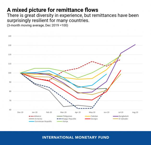 A mixed picture for remittance flows - there is great diversity in experience, but remittances have been surprisingly resilient for many countries