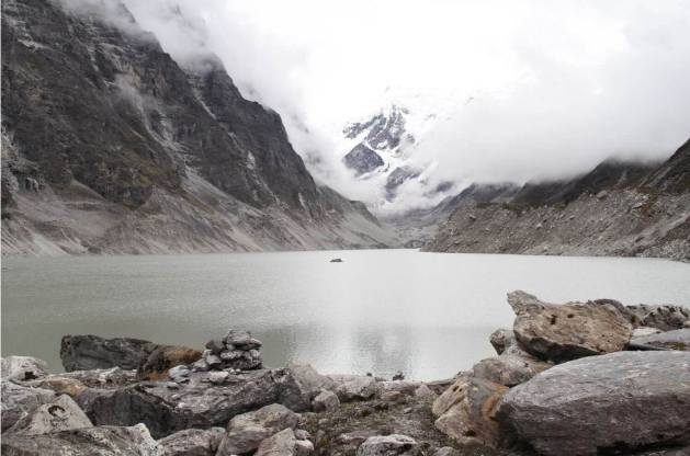 Tso Rolpa glacial lake at 4,580m has grown seven times in size in the past 60 years due to global heating. Credit: RASTRARAJ BHANDARI
