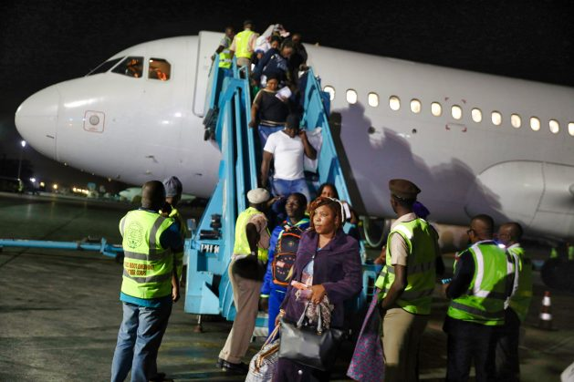 Nigerian migrants arrive in Lagos from Libya. Nigeria has, in the last two years, evacuated thousands of its citizens from Libya and Lebanon after they suffered several forms of abuses, including enslavement. Trafficking has resulted in at least 80,000 Nigerian women being held as sex slaves and forced labour in the Middle East. Credit: Sam Olukoya/IPS