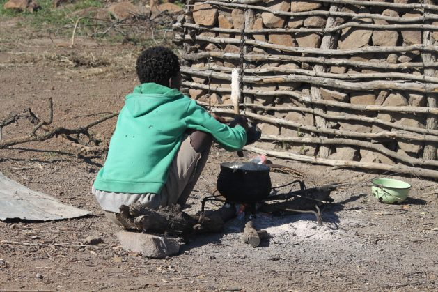 A young boy cooks food at his home in Masunduza, Mbabane, Eswatini. Experts say the current food system does not promote or produce healthy diets. Credit: Mantoe Phakathi/IPS