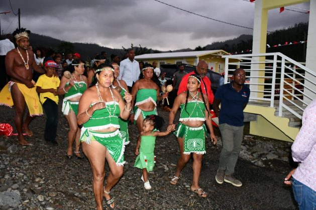 Members of Dominica's Kalinago community, the largest indigenous group in the Eastern Caribbean, on a tour with government officials at a recent event in the Kalinago Territory. Courtesy: Alison Kentish