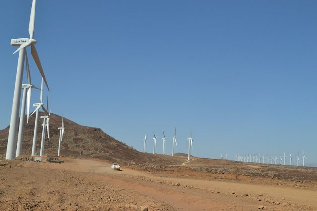 A wind energy generation plant located in Loiyangalani in northwestern Kenya. The plant is set to be the biggest in Africa, generating 300 MW. This renewable energy project was supported by the African Development Bank. Credit: Isaiah Esipisu/IPS